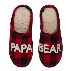 Dearfoams Papa Bear Plaid Men's Slippers